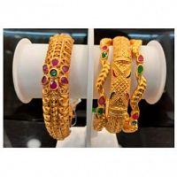 Matte Finish Design Bangles - Sai Srinivasa Pearls, Vijayawada - CZ Jewellery