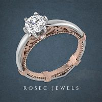 Solitaire Vintage Diamond Ring -Rosec Jewels