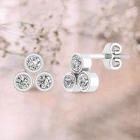 Three Stone Bezel-set Diamond Stud Earring