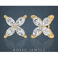 Marquise Diamond Flower Stud Earring