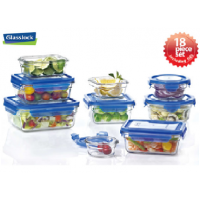 Glasslock Blue Lids Food Storage Container 18 Piece Set Microwave and Oven Safe Airtight Spill Proof