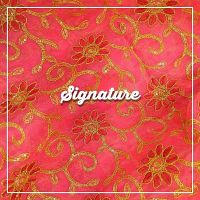Buy Coral Pink Organza Fabric With Floral Thread and Golden Sequence Work at MK SIGNATURE