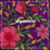 Buy Violet Chiffon Fabric With Traditional Floral Thread Work at MK SIGNATURE Groom and Bride